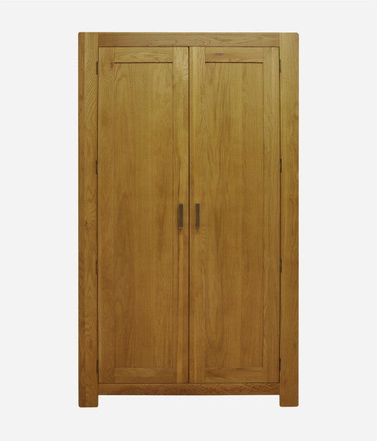 2 Door Wardrobe in Bold Oak with Steel Handles