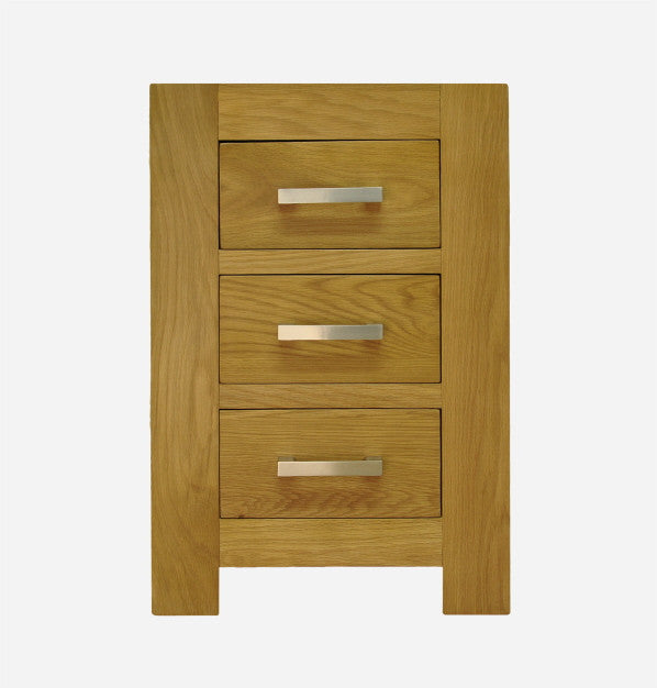 Bold Oak 3 Drawer Bedside