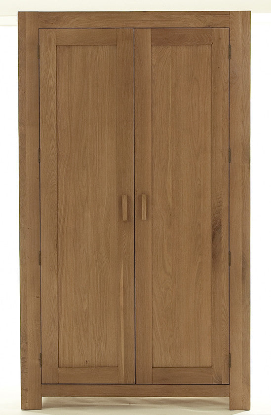 2 Door Wardrobe in Solid Oak with matching handles