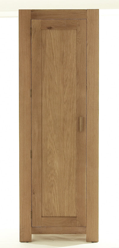 Single Wardrobe in Bold Oak with Solid Oak Handles