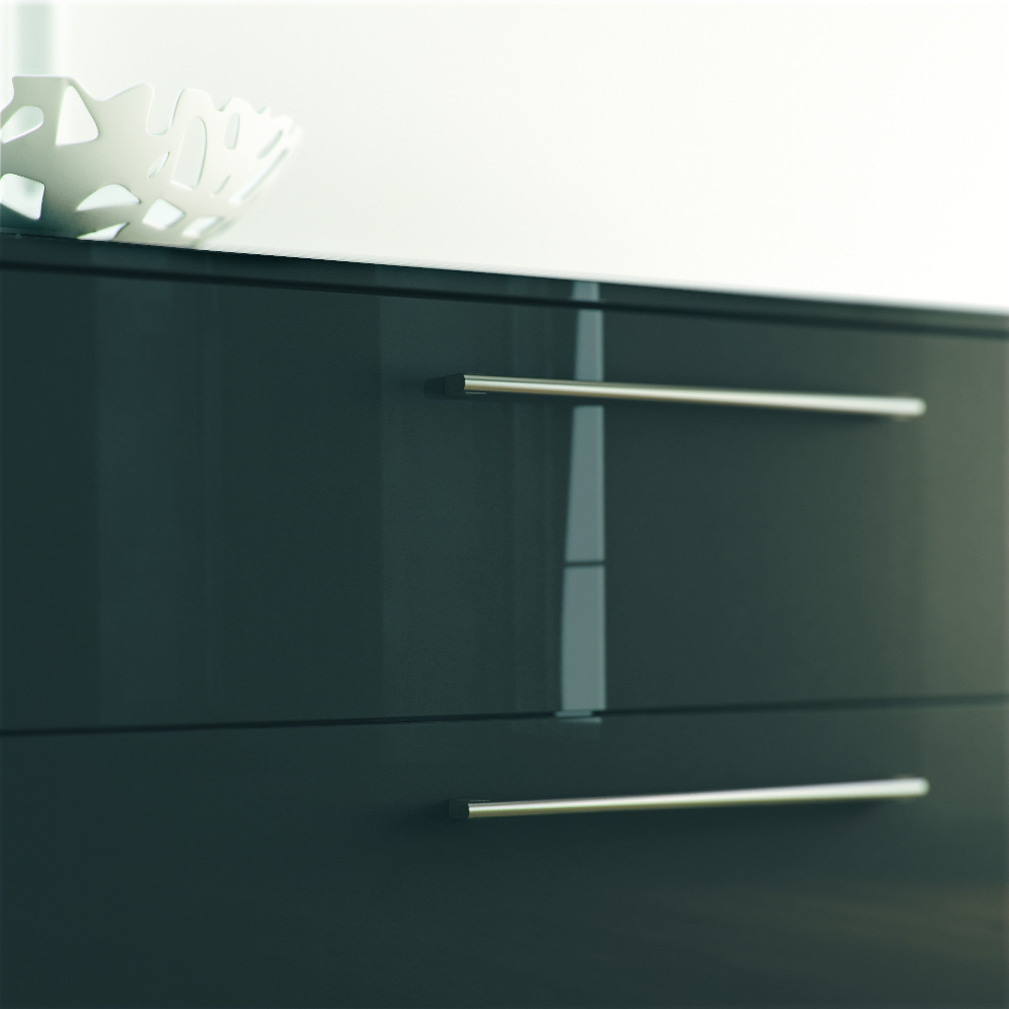 High Gloss Metallic Grey Drawers