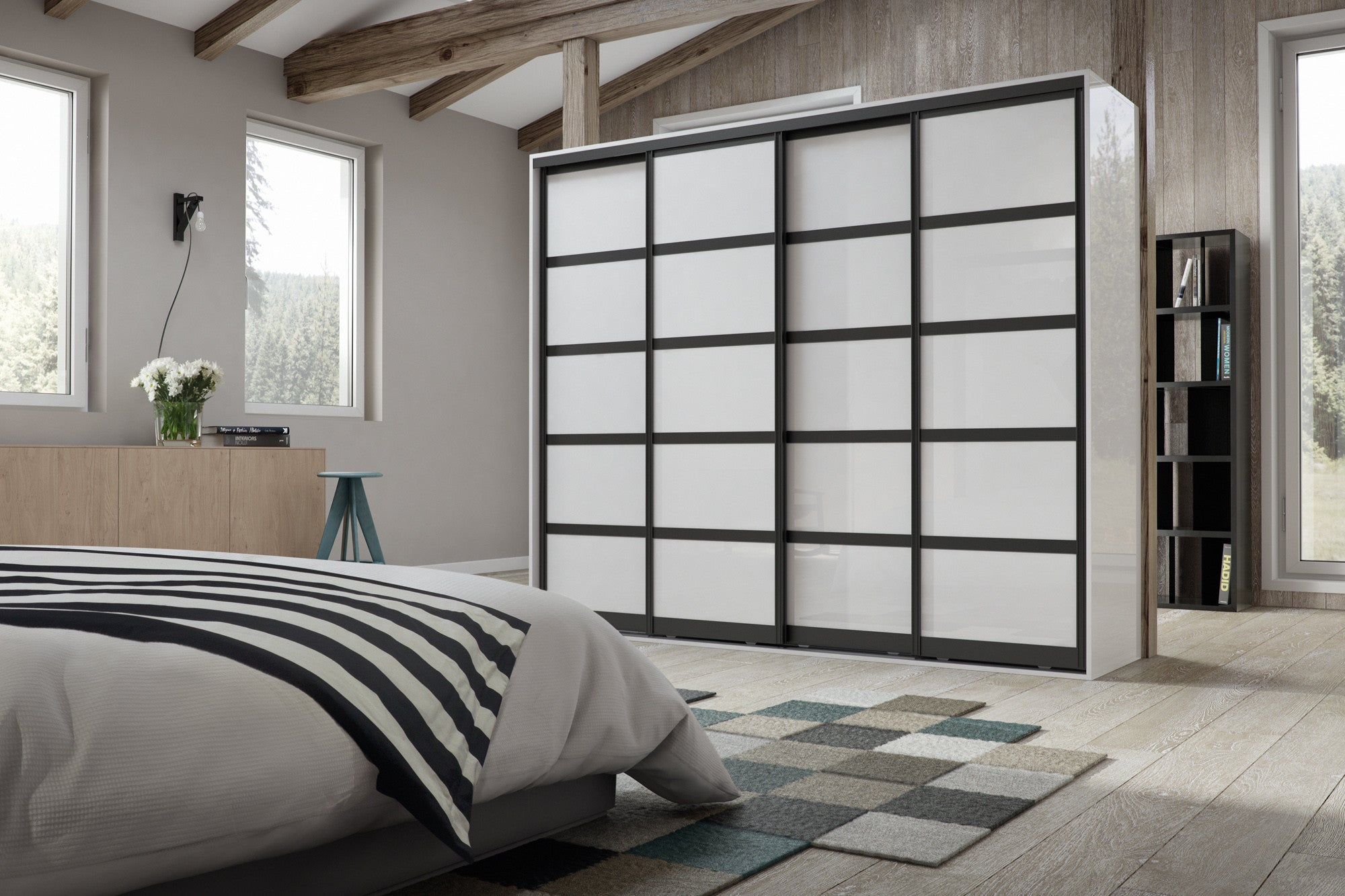 Black frame glass sliding wardrobe