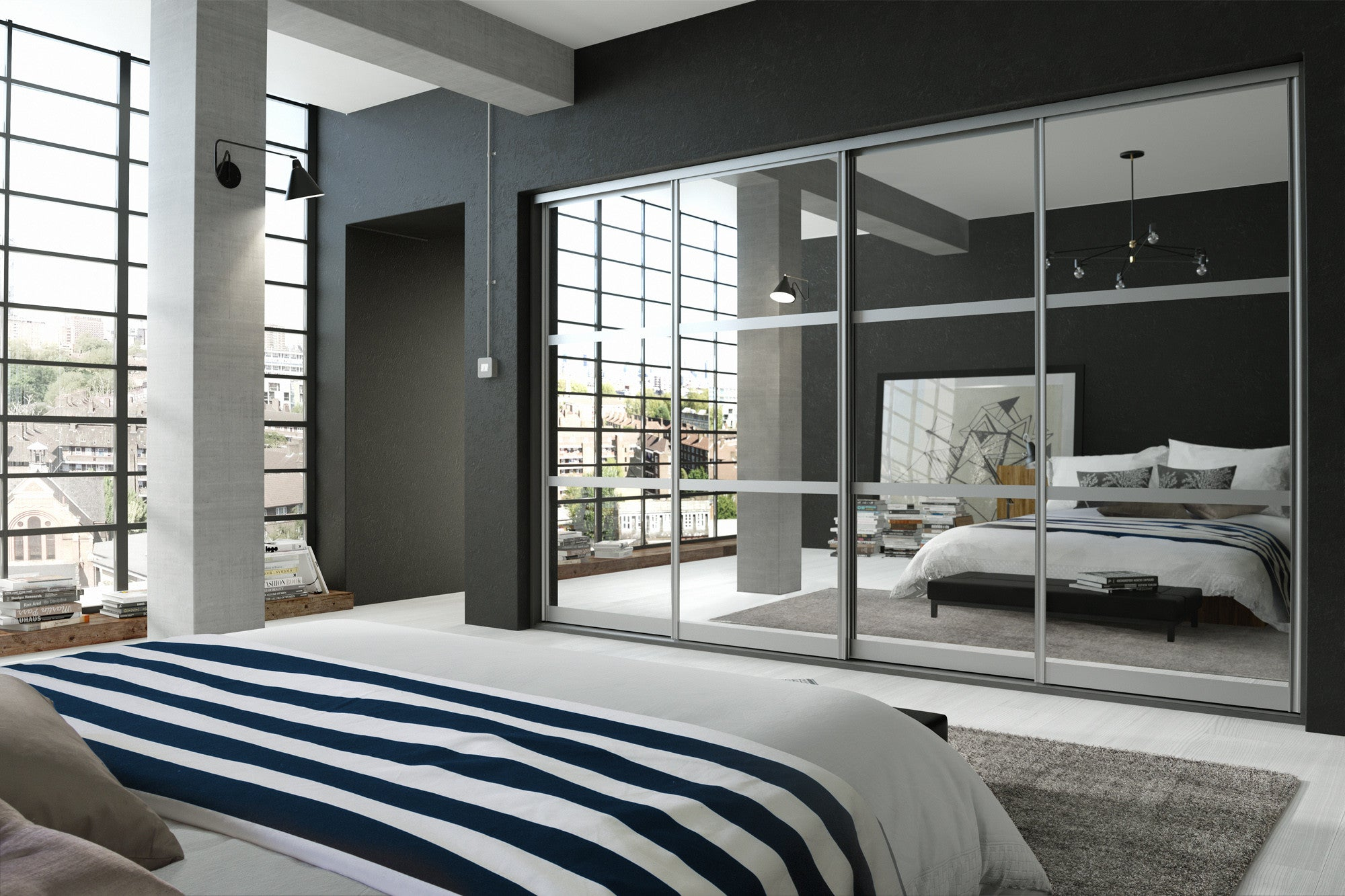 Mirror Glass sliding doors