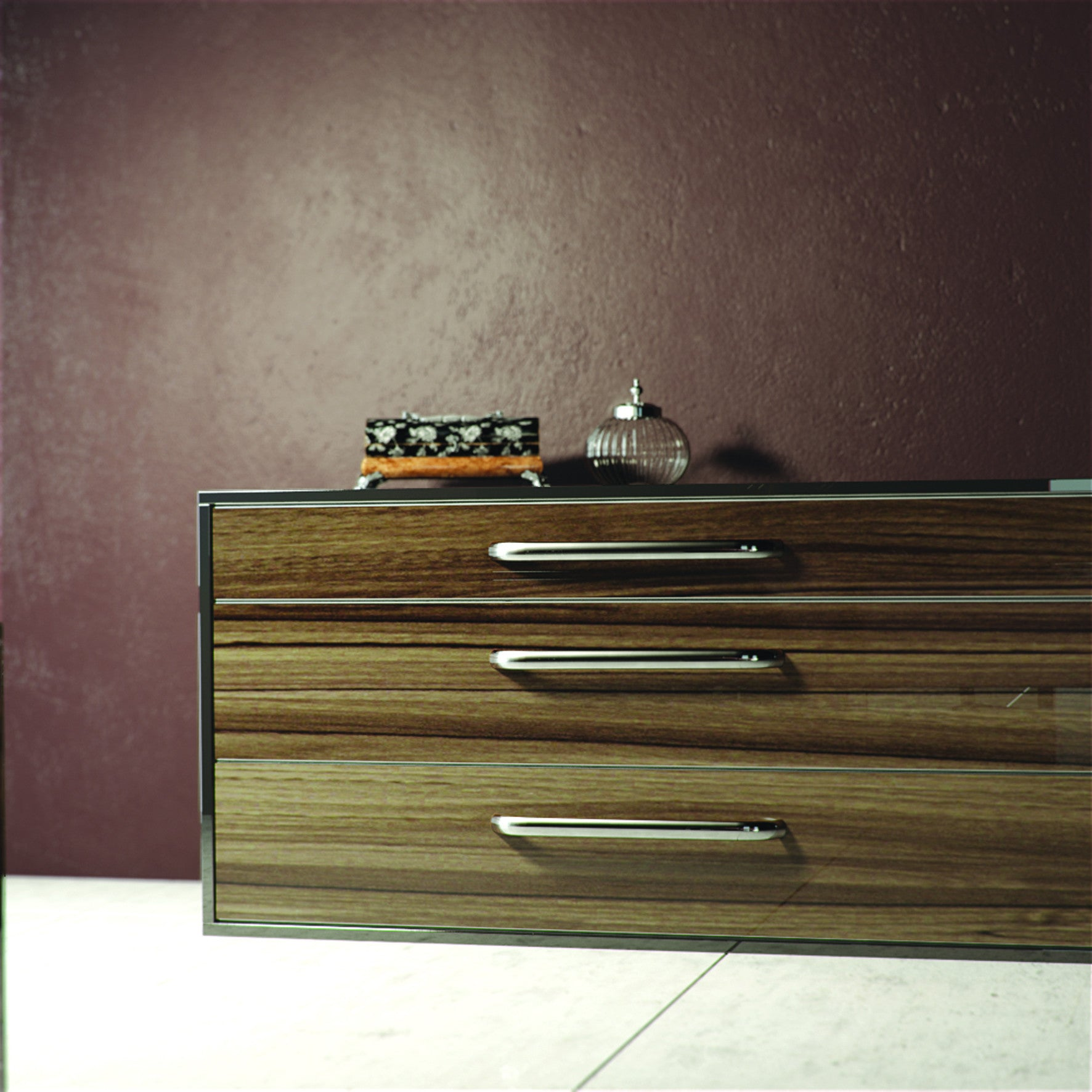 High Gloss Noce Marino Drawers
