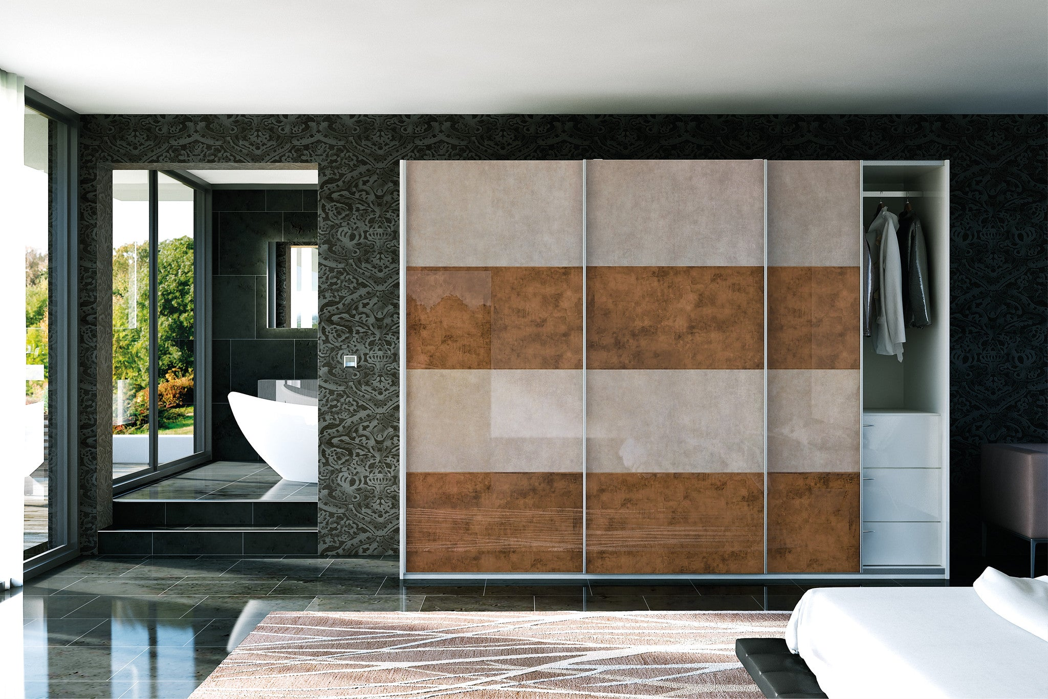 Ultagloss Limestone and Copperleaf Glidor wardrobe