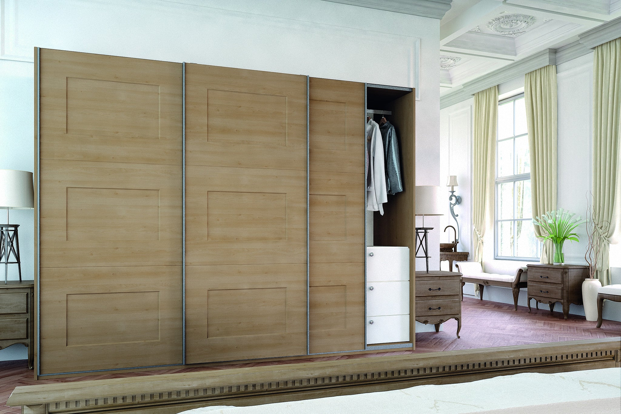 Unique Odessa Oak Cambridge Glidor wardrobe