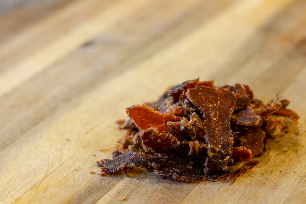 Biltong Beef Jerky Wood Table Dried Meat