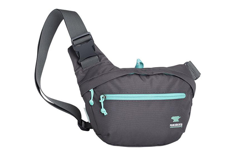 Hiking fanny pack on white background.