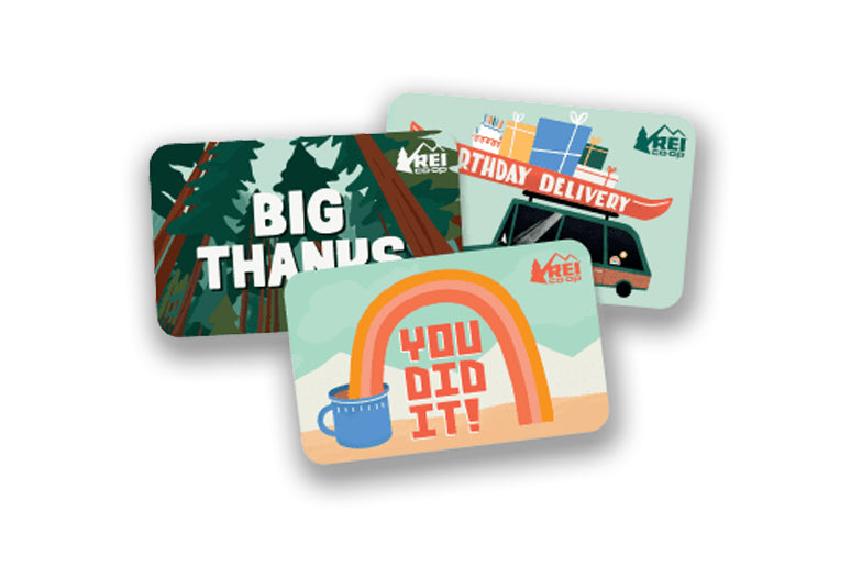 REI gift cards on white background.