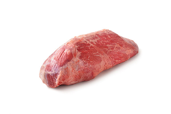 Raw piece of eye of round meat.