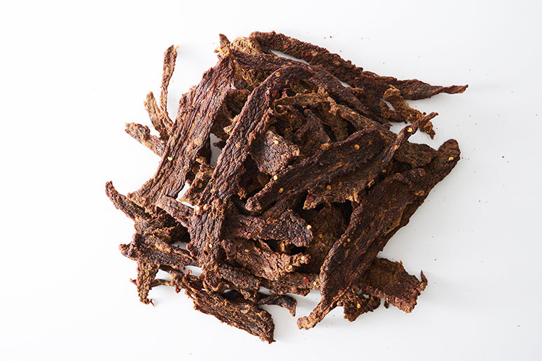 Beef Jerky on white background.