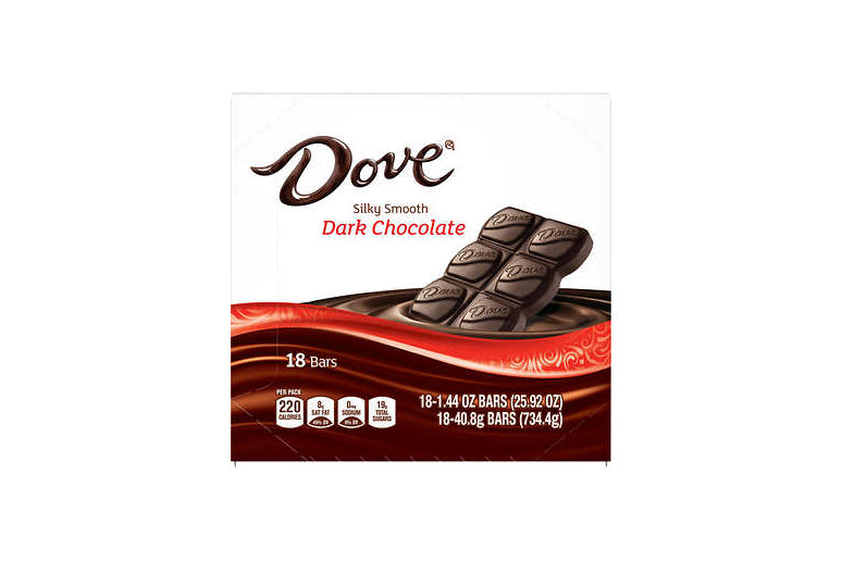 Dove Dark Chocolate Candy Bars, Full Size, 1.44 oz, 18-count