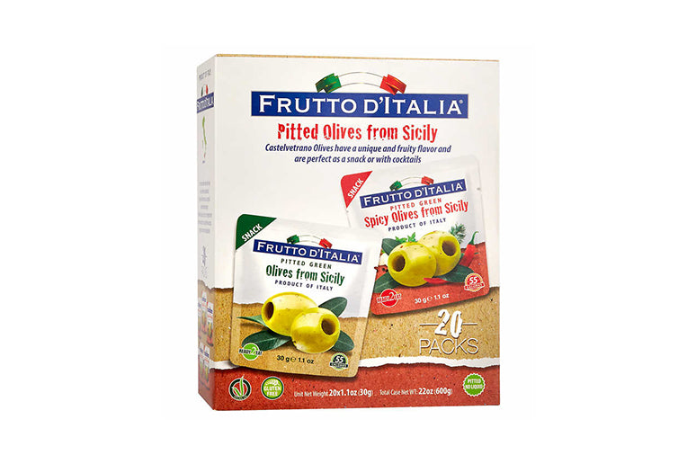 Frutto d'Italia Pitted Green Olives, Variety Pack, 1.1 oz, 20-count