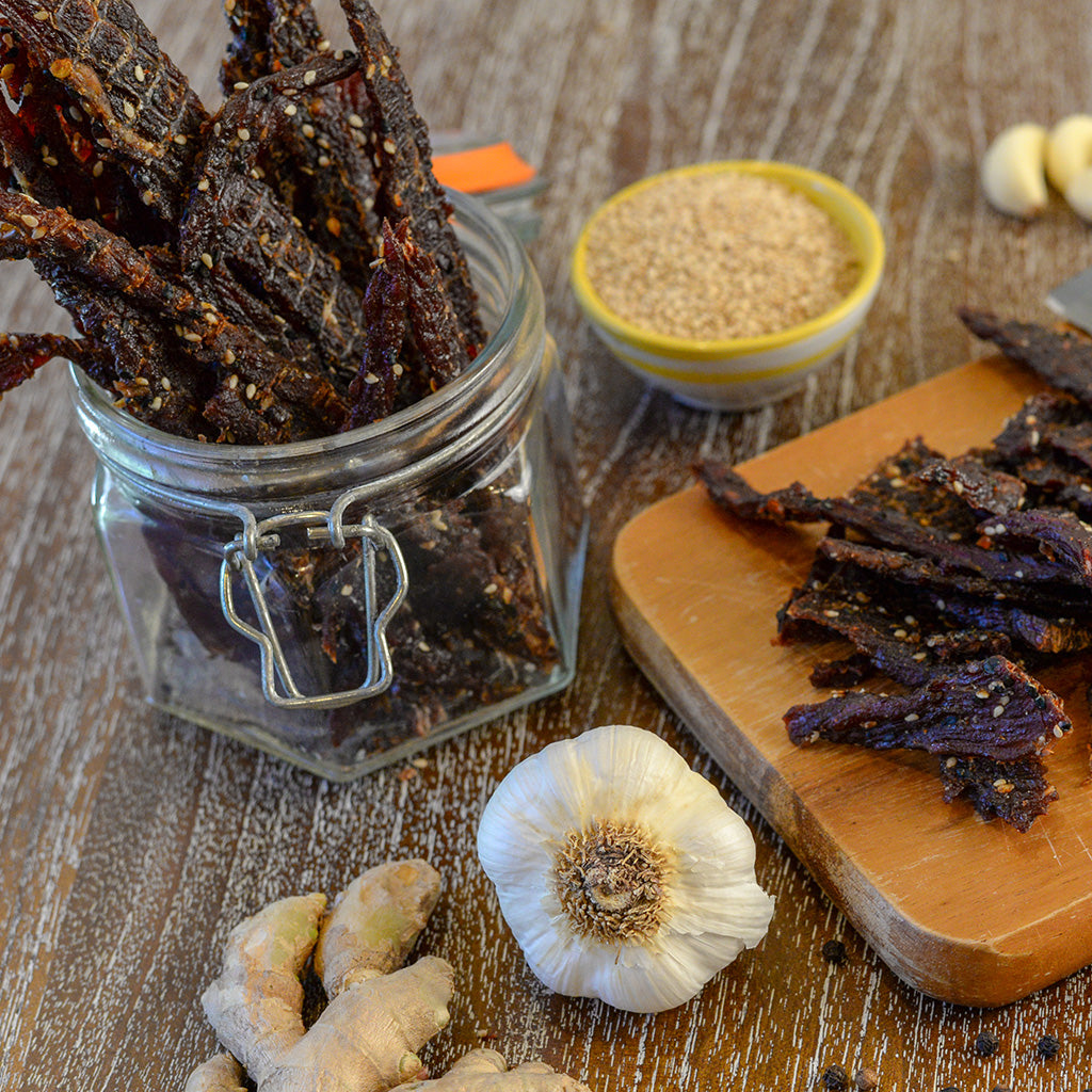 Garlic Ginger Jerky in Mason Jar
