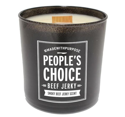 People's Choice Beef Jerky Scented CandlePeople's Choice Beef Jerky - Beef Jerky Scented Candle - Mancave Gift Essential for Guys - Soy Wax, Black Glass - 10 OZ - Back