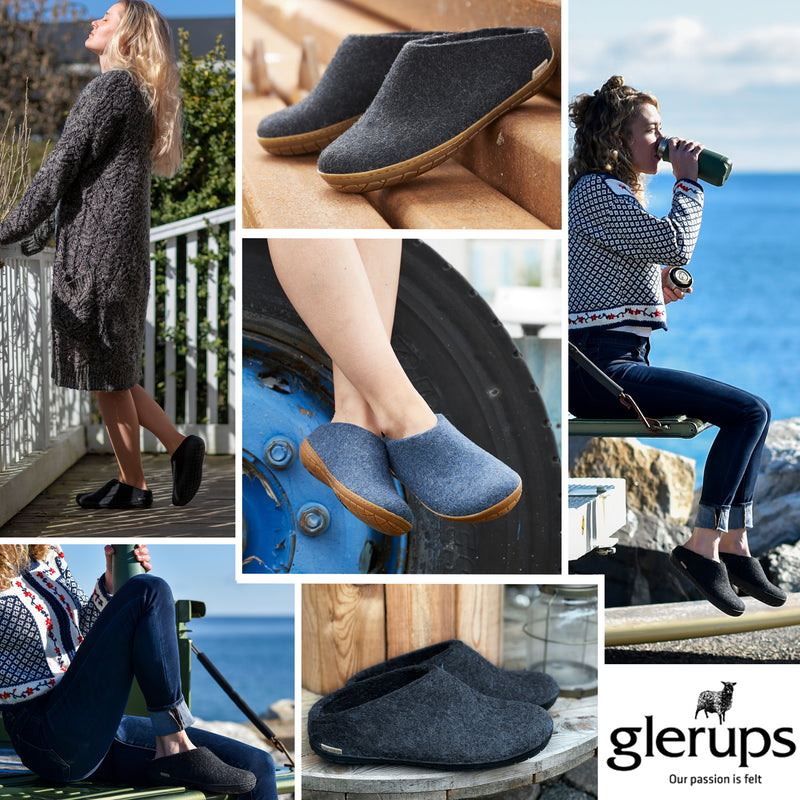 Glerups slippers with rubber soles - now in stock!