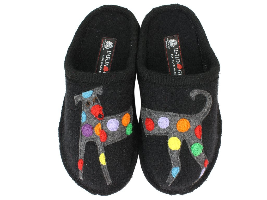 Haflinger Slippers Flair Felix Dog Black upper view