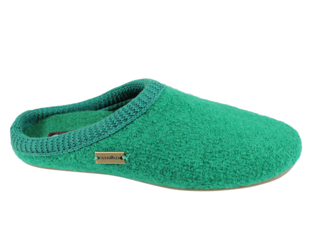 Haflinger Everest Classic Emerald Green with knitted trim