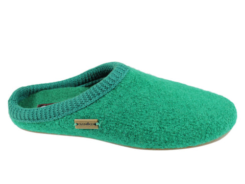 Haflinger Everest Classic Emerald Green Slippers with knitted trim