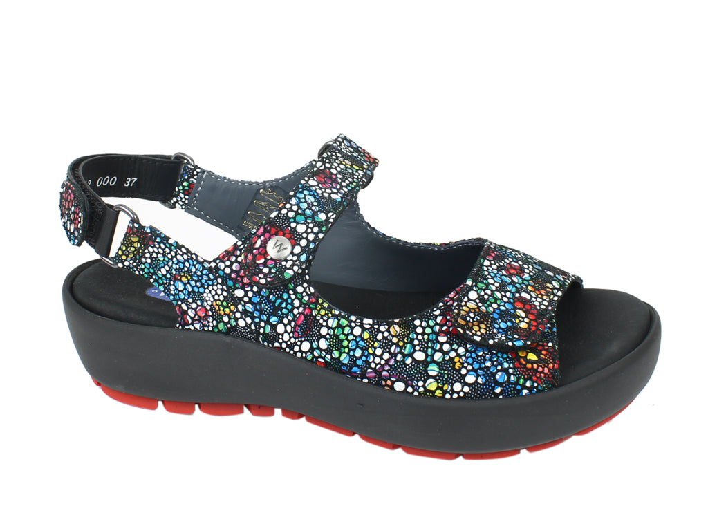 Wolky Sandals Rio Mosaic Black SIDE VIEW