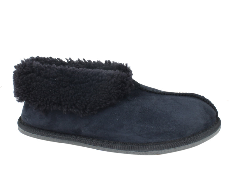 Celtic & Co Slippers Men Sheepskin Bootee Navy side view