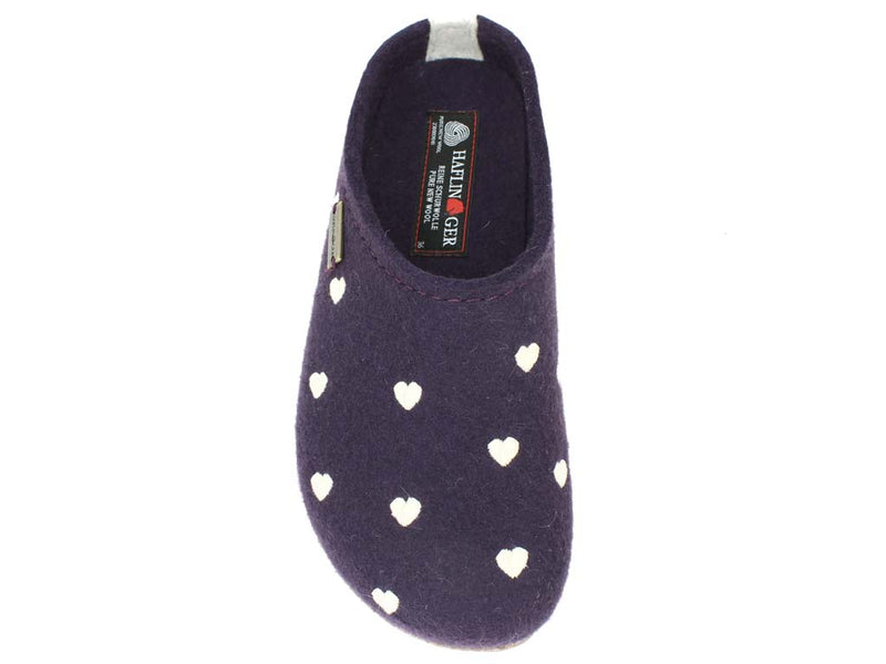 Haflinger Felt Clogs Grizzly Sweetheart Lavender top view