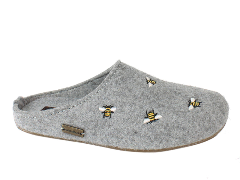 Haflinger Slippers Everest Bees Light Grey side view