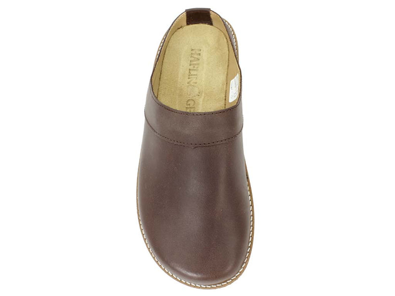 Haflinger Leather Clogs Travel Choco Brown top view