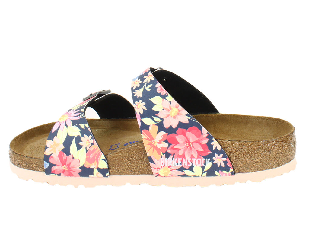 Birkenstock Sandals Sydney Flowers Navy side view side view