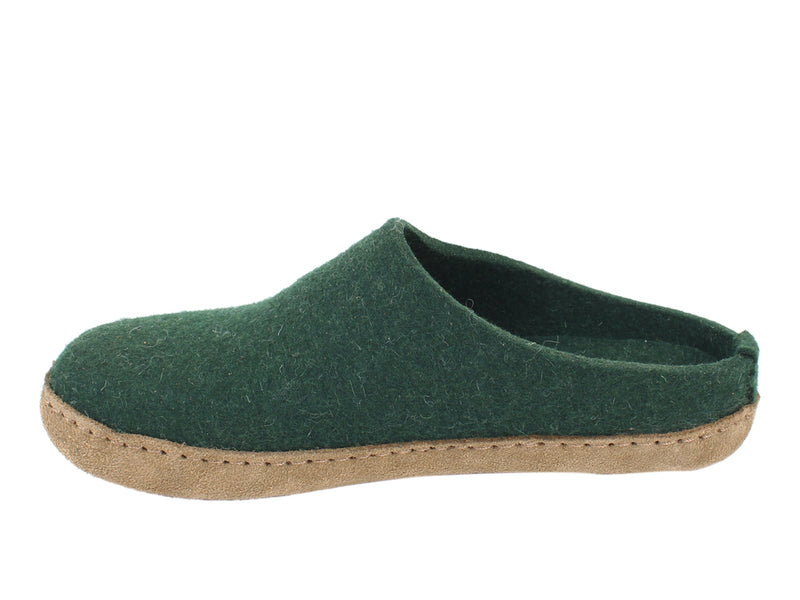 Haflinger Felt Slippers Emil Green side view