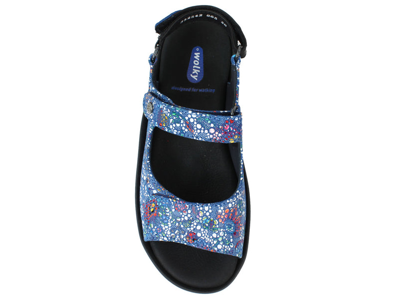 Wolky Women Sandals Rio Mosaic Royal Blue top view