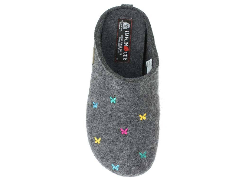 Haflinger Slippers Everest Butterflies Anthracite top view