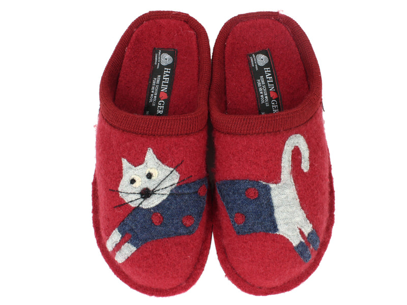 Haflingher Slippers Flair Cucho Cat Paprika upper view