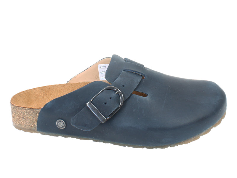 Haflinger Unisex Leather Clogs Lorenzo Navy side view