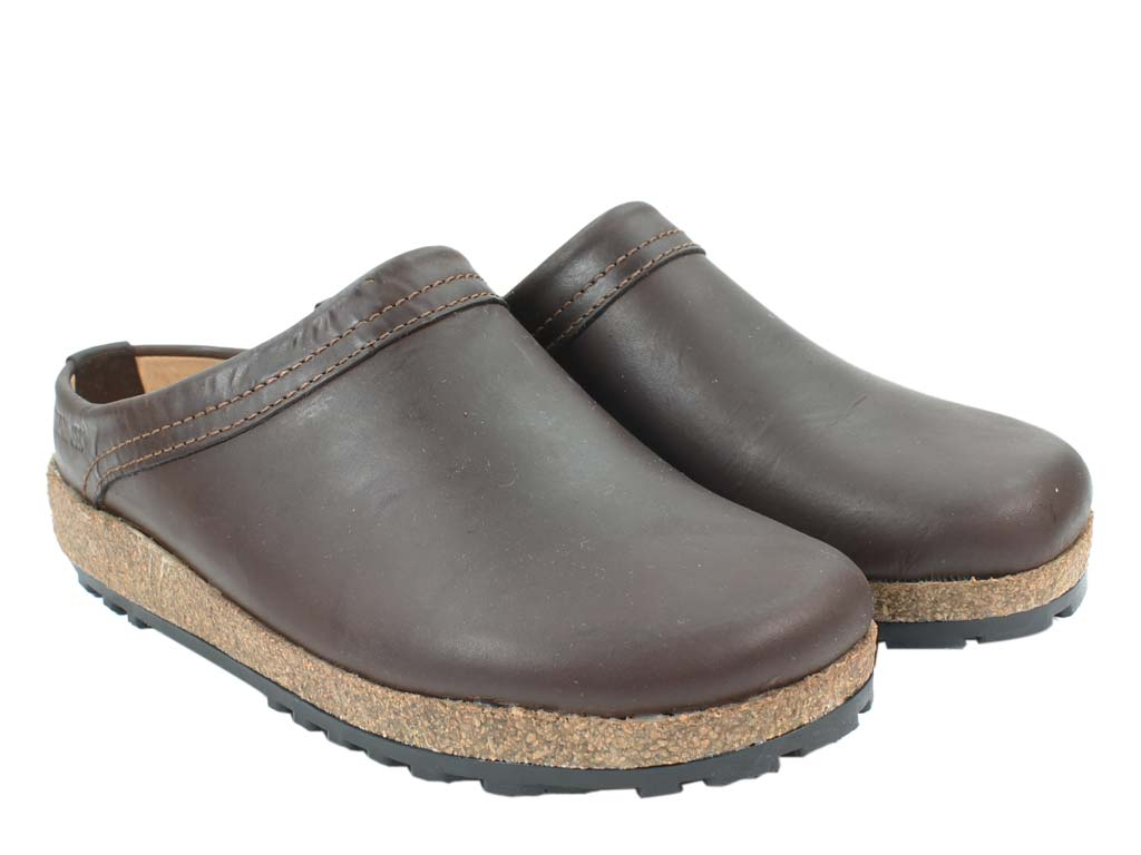 Haflinger Leather Clogs Malmo Brown pair view