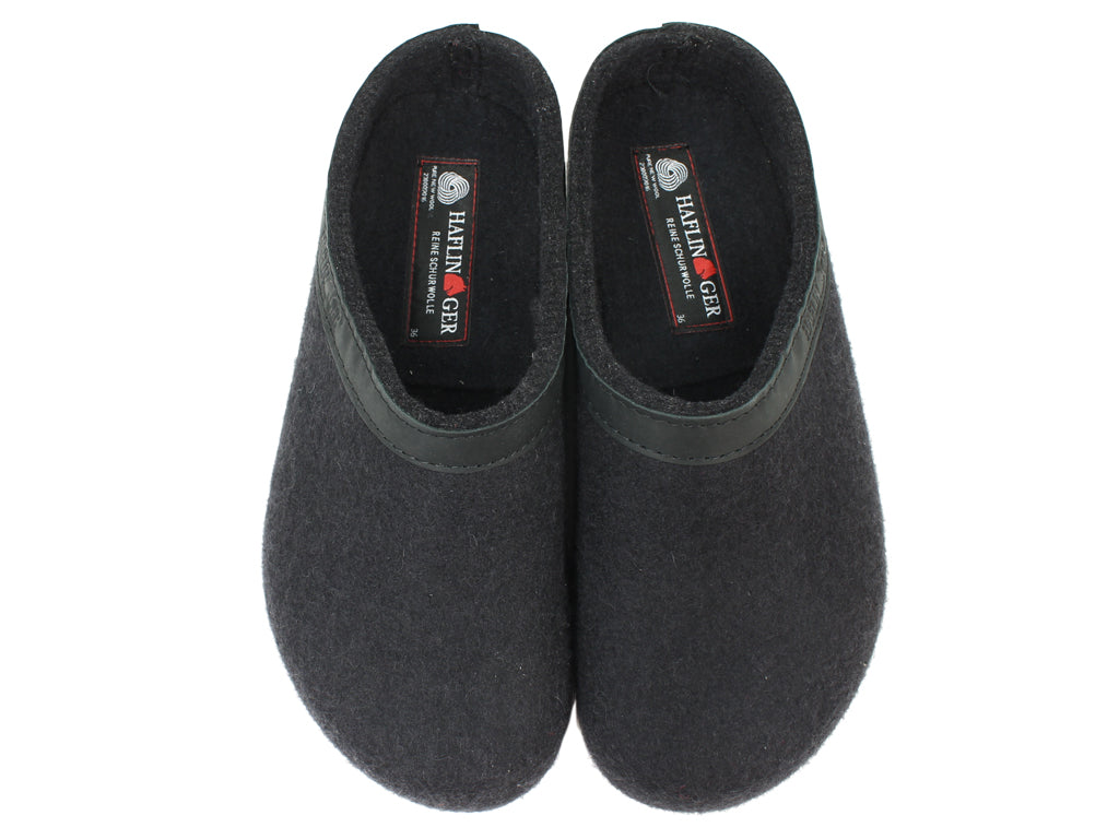Haflinger Clogs Grizzly Torben Black upper view
