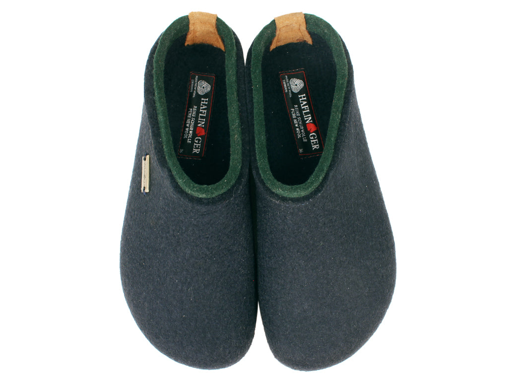 Haflinger Felt Clogs Grizzly Kris Navy Blue upper view