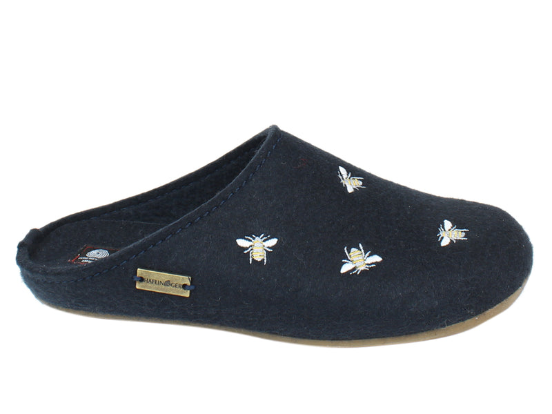 Haflinger Slippers Everest Bees Navy SIDE VIEW