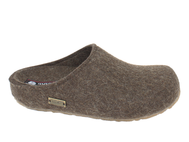 Haflinger Felt Clogs Grizzly Michl Choco side view