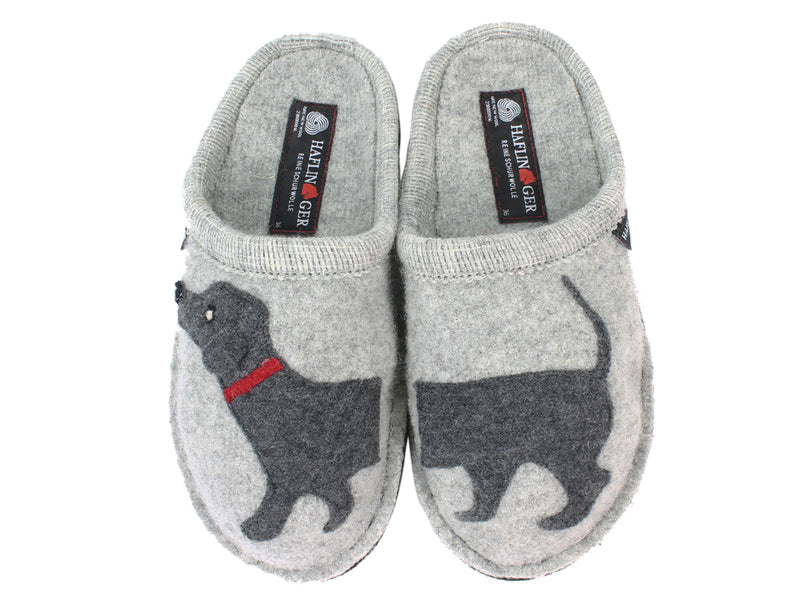 Haflinger Slippers Flair Dachs Dog Grey