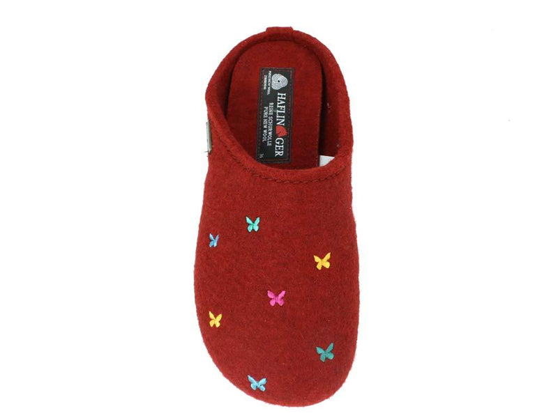Haflinger Slippers Everest Butterflies Red top view