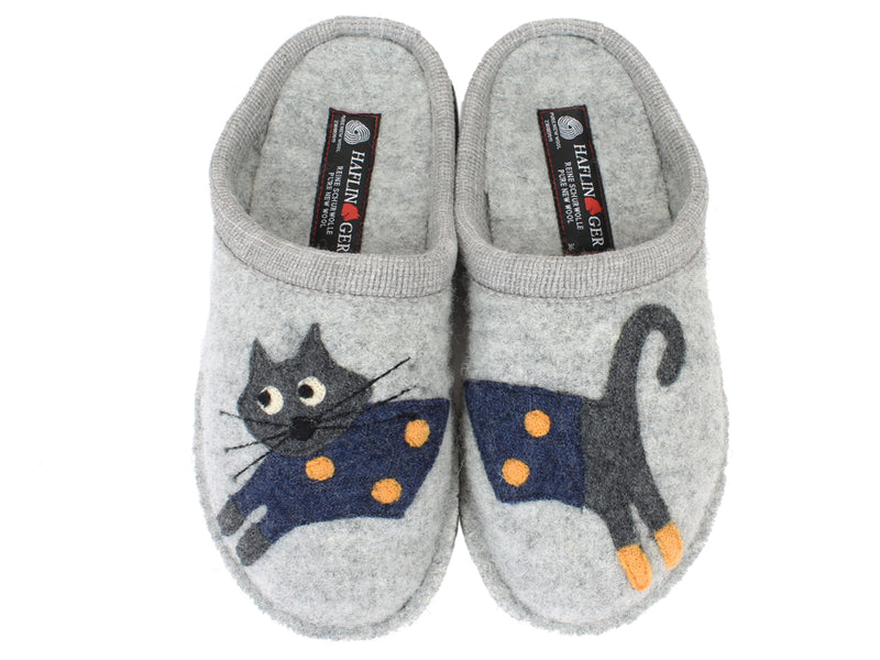 Haflinger Slippers Flair Cucho Cat Grey UPPER VIEW