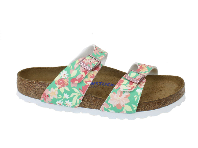 Birkenstock Sandals Sydney Flowers Green side view
