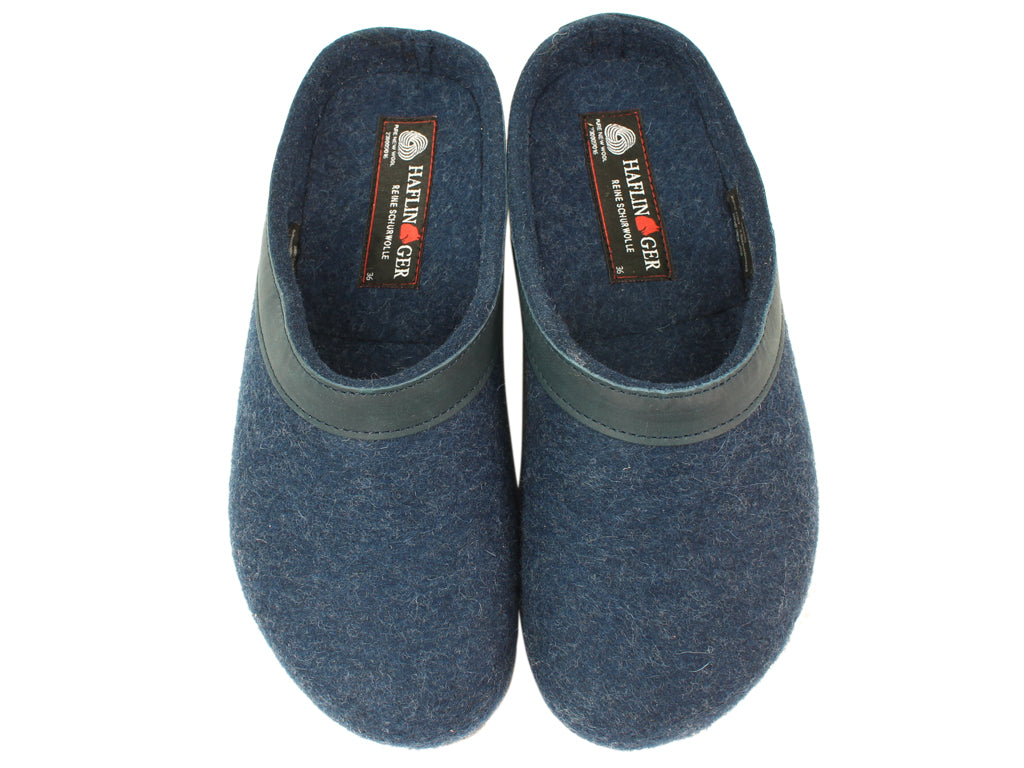 Haflinger Clogs Grizzly Torben Jeans Blue upper view