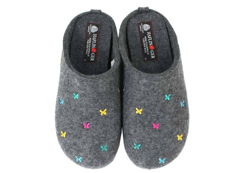 Haflinger Slippers Everest Butterflies Anthracite upper view