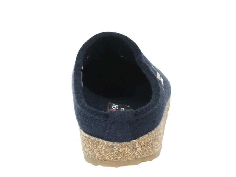Haflinger Felt Clogs Grizzly Stars Navy Blue back view