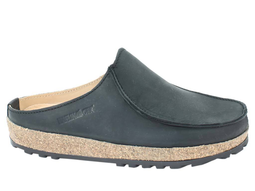 Haflinger Leather Clogs Kolding Black side view