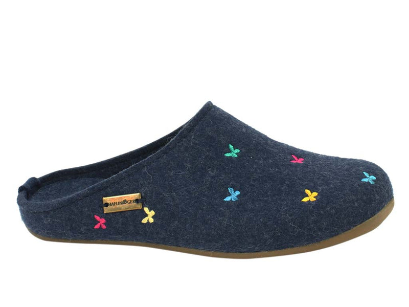 Haflinger Slippers Everest Butterflies Jeans side view