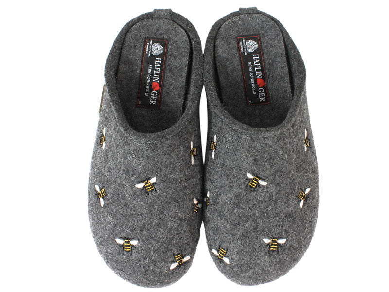 Haflinger Slippers Everest Bees Anthracite upper view