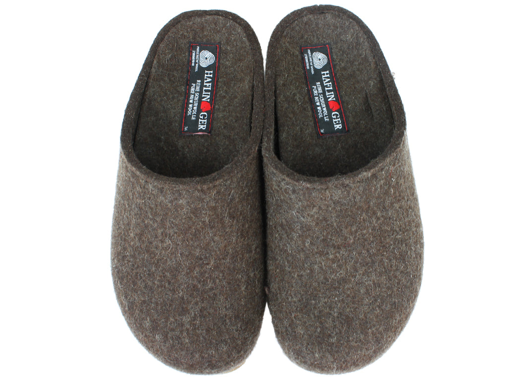 Haflinger Felt Clogs Grizzly Michl Choco upper view